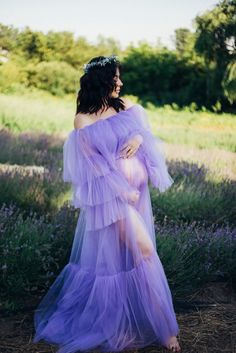 Lavender Maternity Dress, Lavender Outfit, Lavender Gown, Maternity Dresses, Lavender Colour, Kinky Curly Wigs, Bride Headband, Tulle Wedding, Maternity Pictures