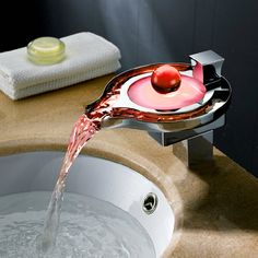Beautiful Design LED Color Changing Waterfall Bathroom Sink Faucet - Faucetsmall.com