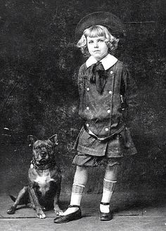 KIDS SHOES: Buster Brown with his dog Tege. The very first Buster Brown portrayed by Richard Baker, 1910.