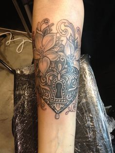 My Heart padlock tattoo with flowers and filigree