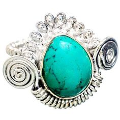 """Turquoise Wire Swirl Ring Signed 925 #Sterling Silver Sz 7 1/4"""" NOS #Vintage offered by brightgems treasures.  Tibetan Turquoise Wire Swirl Ring Signed 925 for Sterling Silve... #jewelry #vintage #sterling #artdeco #victorian #etsy ➡️ http://jto.li/8SB3p"""
