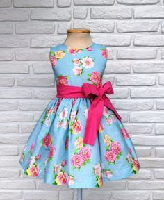 Vestido Infantil Festa - Azul e Rosa 2