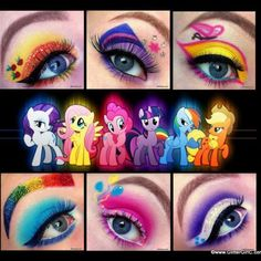 I am way too impressed by this. But it is pretty awesome! 'My Little Pony' Disney Eye Makeup, Artist Makeup, Pony Makeup, Eye Makeup Art, Eye Art, Smokey Eye Makeup, Eyeshadow Makeup, My Little Pony Party, My Little Pony Costume