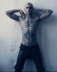 "Rick Genest, also known as Rico, is the center of attention in the Vogue Hommes Japan Spring/Summer 2011 editorial titled ""Hard To Be Passive"". Rick Genest is a 24-year-old Canadian model who is often known as Zombie Boy or Skeleton Boy for his full-body skeleton tattoo. You can spot Rick Genest in Lady Gaga's music video for Born This Way."