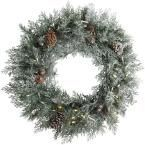 30 in. Pre-Lit LED Frosted Mountain Spruce Artificial Christmas Wreath, Greens