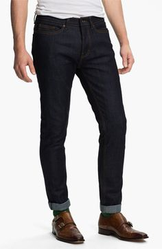 Topman Dexter Skinny Fit Stretch Jeans (Dark Blue) available at Nordstrom
