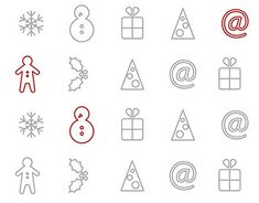 Xmas and new year icons Working On Myself, New Work, Icon Design, Appreciation, Greeting Cards, Xmas, Behance, Profile, Icons