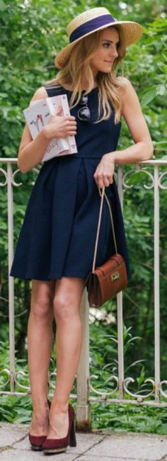 Katarzyna Tusk is the absolute cutest this summer in a blue dress with red heels and a straw hat!  Dress: Medicine, Bag: Massimo Dutti, Bag: Dear Frances, Hat: Topshop...   Style Inspiration