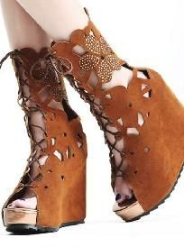 Brown Boho Bohemian - Boots Wedges Shoes w/ Rhinestone Flower ~ Shipping Included
