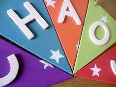 Shabby Chic Wooden name nursery bunting baby kids Christening Birthday Gift