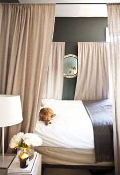 Ellie Somerville's Studio, Charles P. Rogers canopy bed, mirror, dark walls