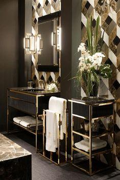 Chic Geometric Wallpaper in Bathroom with Metallic Accents - Scandinavian Interiors