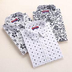 6ce496603f142 New Women Blouses Floral Print Shirts Cotton Shirt Women Long Sleeve Blouse  Vintage Woman Clothes Summer