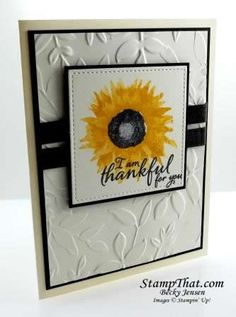 handmade Thanksgiving card:Elegant Painted Harvest  by    Becky Jensen .... large stamped sunflower ... black and white with a splash of yellow ... luv the 3D embossing folder leaves on the background layer ... Stampin' Up!