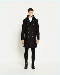 Harvey James wears Zara Man Military Style Coat.