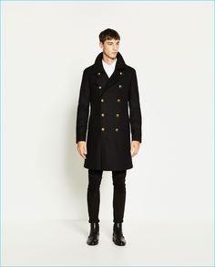 Harvey James wears Zara Man Military Style Coat.