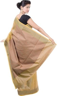 Banarasi style Embellished Banarasi Cotton Sari - Buy Brown Banarasi style Embellished Banarasi Cotton Sari Online at Best Prices in India | Flipkart.com