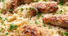 A quick and easy skillet meal with tender chicken scampi over perfectly cooked buttery, garlic parmesan rice. Easy Chicken Recipes, Rice Recipes, New Recipes, Cooking Recipes, Favorite Recipes, Popular Recipes, Dinner Recipes, Parmesan Rice Recipe, Chicken