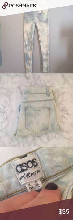 """Asos bleached denim. New with tags.  34"""" inseam, 5"""" leg opening, 13"""" waist, 10"""" rise.  Measurements happily given upon request!  No trades. Reasonable offers welcome 🍾Note: 20% off bundles of 2+ items in my closet! ASOS Jeans Skinny"""