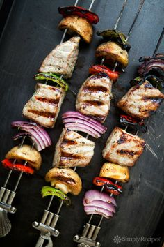Grilled Tuna Kebabs Recipe on SimplyRecipes.com, a great way to enjoy grilled tuna. #glutenfree #paleo #grill #MemorialDay