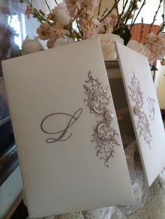 Silk, embroidered, box wedding invitation by Embellishments Invitations xo
