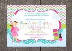 Printable Invitation-NEW Spa Party Girls Collection-Little Birdie Notes on Etsy, $12.00