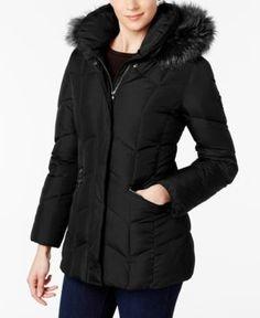 Larry Levine Faux-Fur-Trim Pillow-Collar Puffer Coat - Black XS