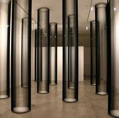 žilvinas kempinas, columns, 2006, videotape, plywood, nails