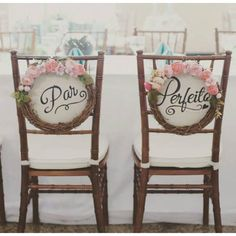 With a bit of creative flair these chair backs could be sweet. Wedding Party Songs, Wedding Pics, Chic Wedding, Wedding Bride, Perfect Wedding, Wedding Details, Rustic Wedding, Dream Wedding, 8th Wedding Anniversary
