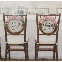 Placa para Cadeira dos Noivos