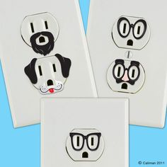 Stickers for outlets... yes yes i know, as if we need to make them look more attractive to children. but i mean really look at the mustaches!  by CreativeOutletsShop