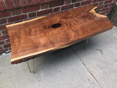 Mid Century Modern Live Edge Coffee Table Rustic Industrial Wood Slab Black Walnut Gold Hairpin Legs by StocktonHeritage on Etsy https://www.etsy.com/listing/400434203/mid-century-modern-live-edge-coffee