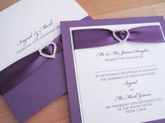 Albany Wedding Invitations In White And Purple Finished With Ribbon A Crystal Heart