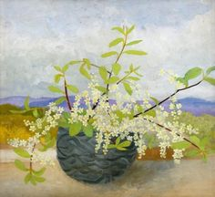 Cumberland Landscape with Flowers  by Winifred Nicholson        Date painted: 1946