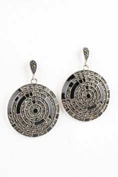 NEW DESIGNER Sterling Silver Black Onyx Marcasite Accent Circle Drop Earrings