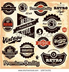Retro labels. Vintage labels collection. Premium Quality Guarantee vintage styled signs set. by etraveler, via ShutterStock