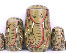 "Elephants Family Nesting Stacking Dolls 5"""