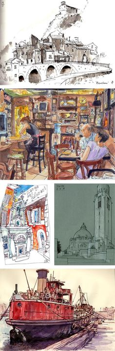 Urban sketchers. Images above by: Matt Jones, Thomas Thorspecken, Benedetta Dossi, Gérard Michel, and Stephen Gardner.