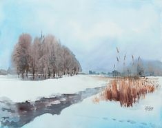 Watercolor painting «Winter Landscape» by Ekaterina Gubina