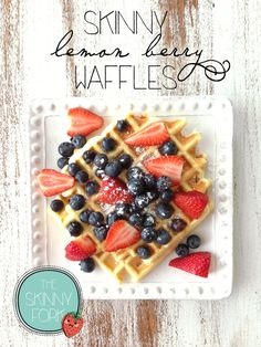 Skinny Lemon Berry Waffles (Cake Mix) — Easy lemon waffles topped with fresh summer berries. Only 177 calories!