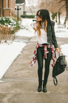 Love this!! Black leather jacket, black leather pants, white tank:D would be so cute!! With some Vans or Lita boots