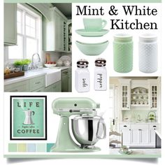 Mint & White Kitchen by lgb321 on Polyvore featuring interior, interiors, interior design, home, home decor, interior decorating, KitchenAid, Dansk, kitchen and mint