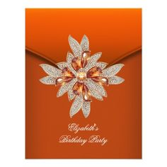 Elegant Burnt Orange Amber Birthday Party Invitations