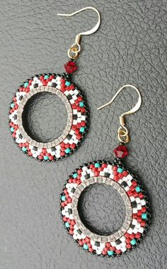 Red, Black ,Turquoise and White Earrings. Medallion by LynnsBeadworkDesigns Seed Bead Jewelry, Bead Jewellery, Seed Bead Earrings, Beaded Jewelry, Hoop Earrings, Round Earrings, Seed Beads, Beaded Earrings Patterns, Beading Patterns