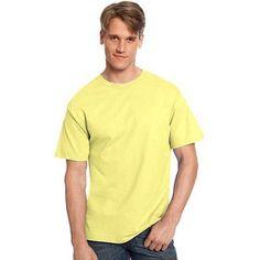 Hanes Big Men's Tagless Short Sleeve Tee, Size: 6XL, Yellow