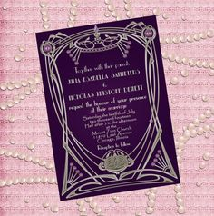 Great Gatsby Style Art Deco Wedding Invitation   by StudioDMD