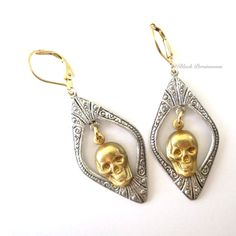 MAXINE  Victorian Ornate Gothic Skull Earrings  by blackpersimmons