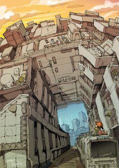 Environment Concept Art, Environment Design, Cyberpunk Kunst, Ai No Kusabi, Environmental Art, Art Plastique, Manga Art, Digital Illustration, Art Reference