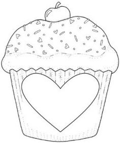 CUP%2520CAKE Applique Templates, Applique Patterns, Applique Designs, Embroidery Applique, Colouring Pages, Adult Coloring Pages, Coloring Sheets, Red Brolly, Cupcake Pictures