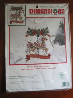 Carousel Cheer Garment Counted Cross Stitch Kit Dimensions #8481 USA 1995 #Dimensions #CountedCrossStitch